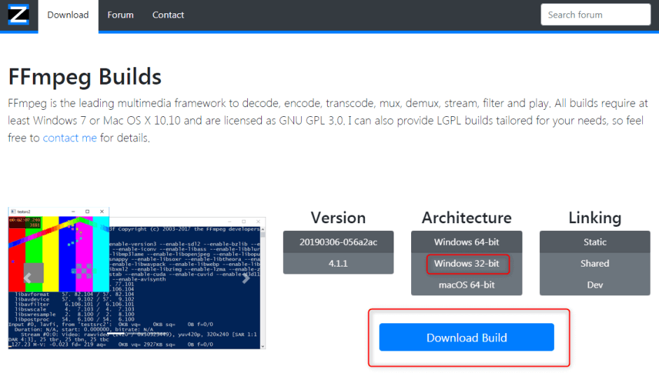 انقر على Download Build في ffmpeg