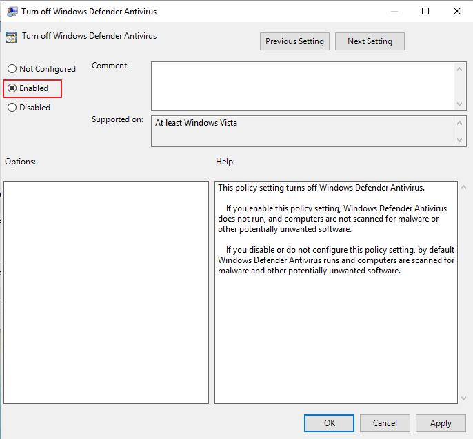 حدد enabled بعد النقر المزدوج فوق إيقاف تشغيل Windows Defender Antivirus